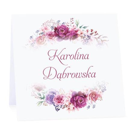 Winietka weselna na stół wizytówka podziękowanie personalizacja florals fioletowe