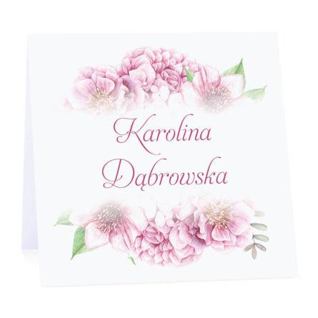 Winietka weselna na stół wizytówka podziękowanie personalizacja florals różowe