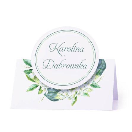 Winietka weselna na stół z motywem zielonych liści personalizacja