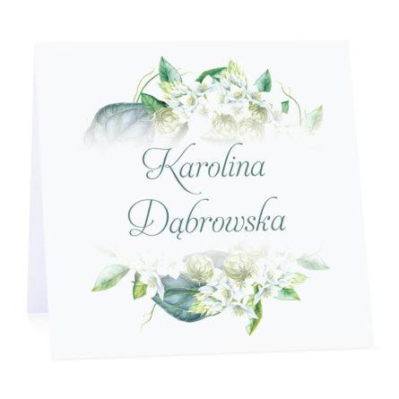 Winietka weselna na stół wizytówka podziękowanie personalizacja zielone kwiaty