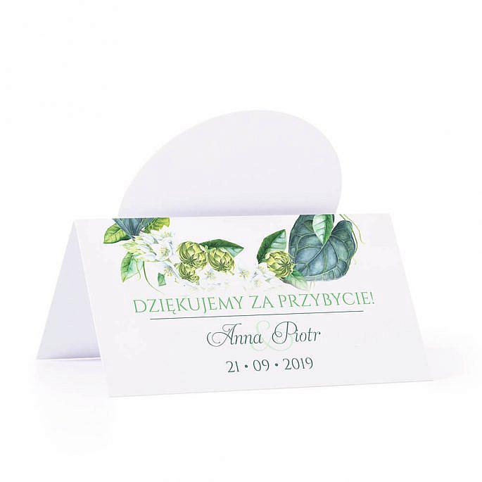 Winietka weselna na stół z motywem kwiatowym zielonym podziękowanie