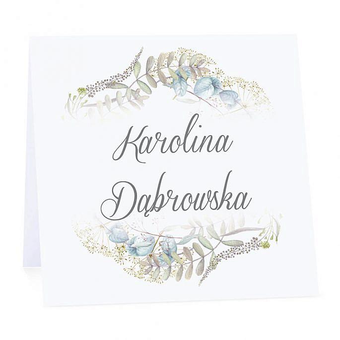 Winietka weselna na stół wizytówka podziękowanie personalizacja kolorowe kwiaty
