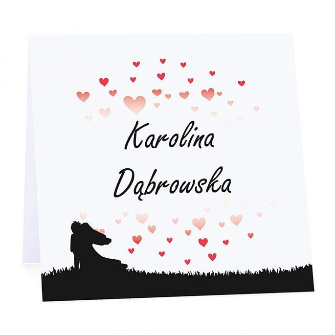 Winietka weselna na stół wizytówka podziękowanie personalizacja serca love