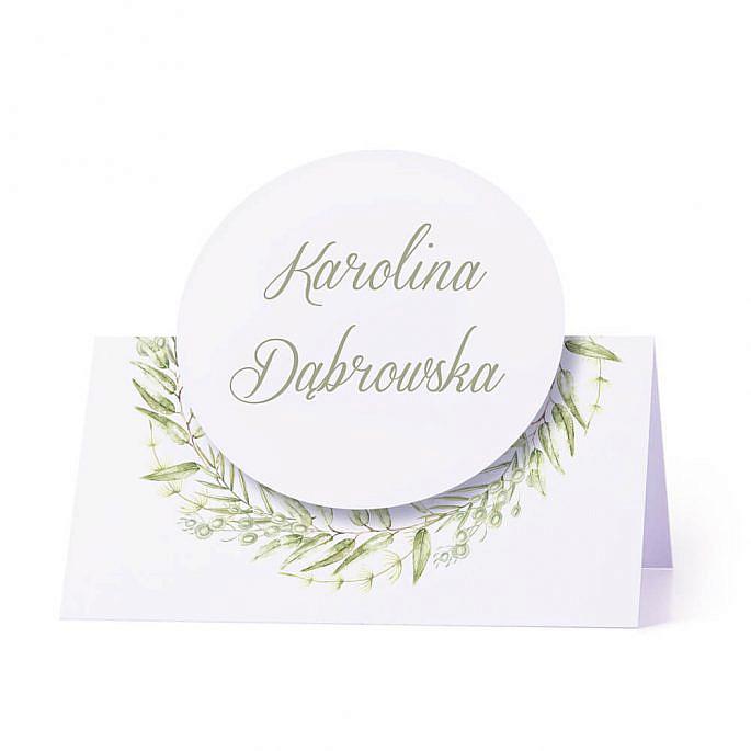 Winietka weselna na stół z motywem kwiatowym greenery personalizacja