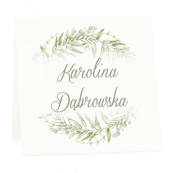 Winietka weselna na stół wizytówka podziękowanie personalizacja greenery