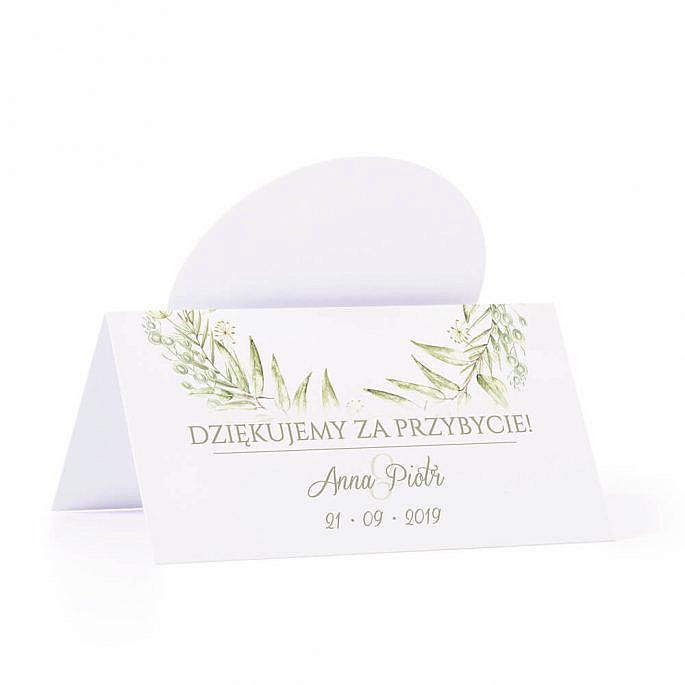 Winietka weselna na stół z motywem zielonym greenery podziękowanie