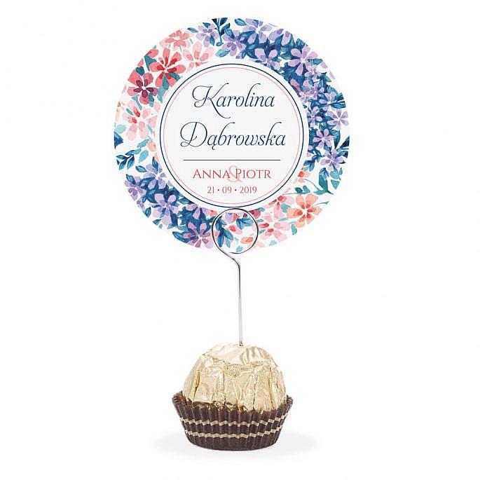 Winietka weselna na stół metalowa szpilka podziękowanie florals