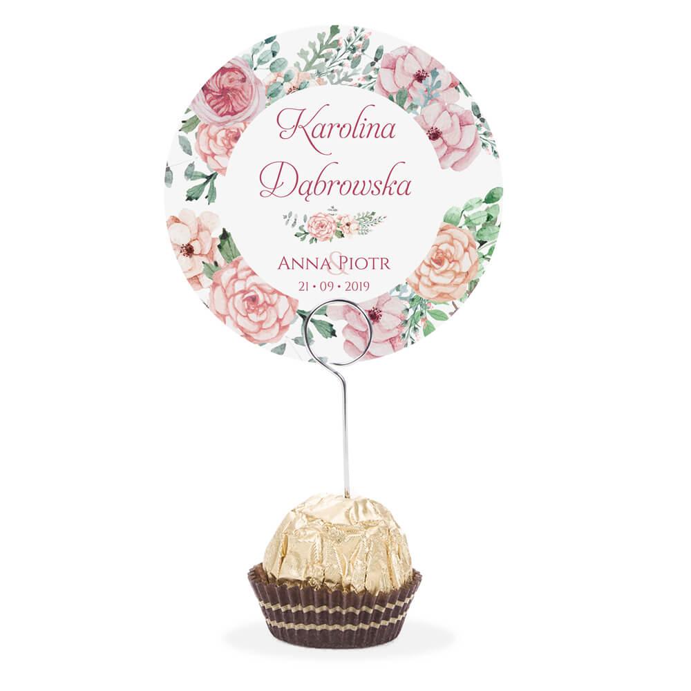Winietka weselna na stół metalowa szpilka podziękowanie różowo zielone kwiaty