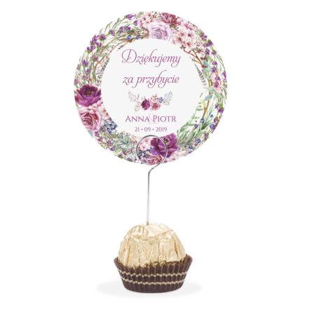 Winietka weselna na stół metalowa szpilka podziękowanie fioletowo zielone