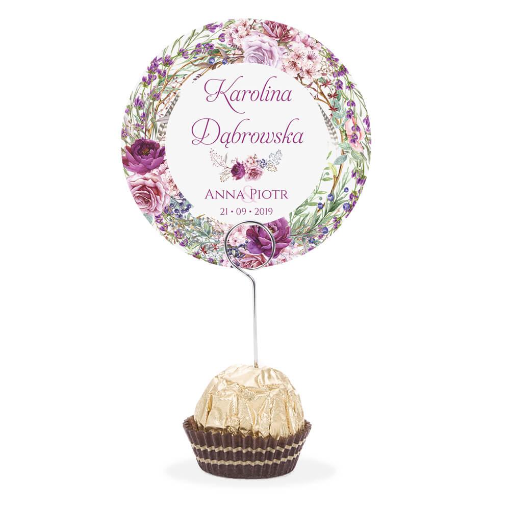 Winietka weselna na stół metalowa szpilka podziękowanie fioletowo zielone kwiaty