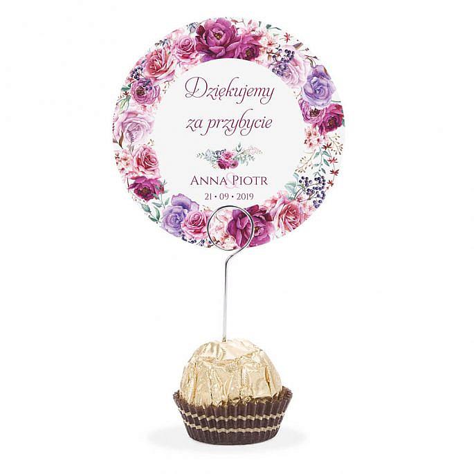 Winietka weselna na stół metalowa szpilka podziękowanie fioletowe kwiaty