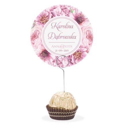 Winietka weselna na stół metalowa szpilka podziękowanie różowe kwiaty