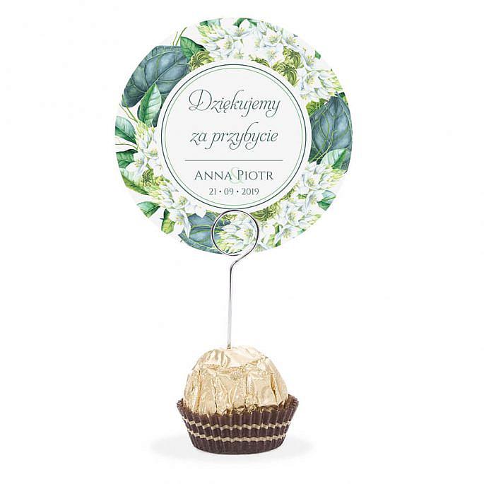 Winietka weselna na stół metalowa szpilka podziękowanie zielone kwiaty