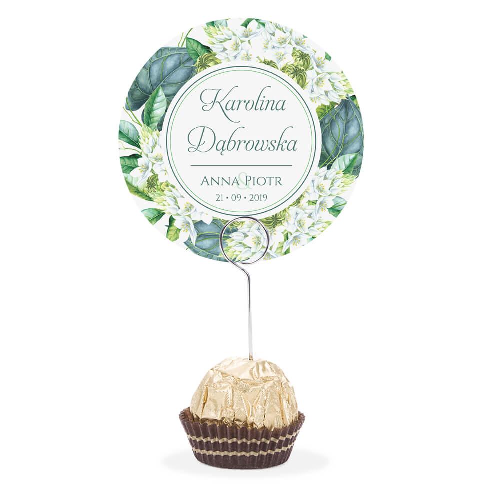 Winietka weselna na stół metalowa szpilka podziękowanie zielone liście
