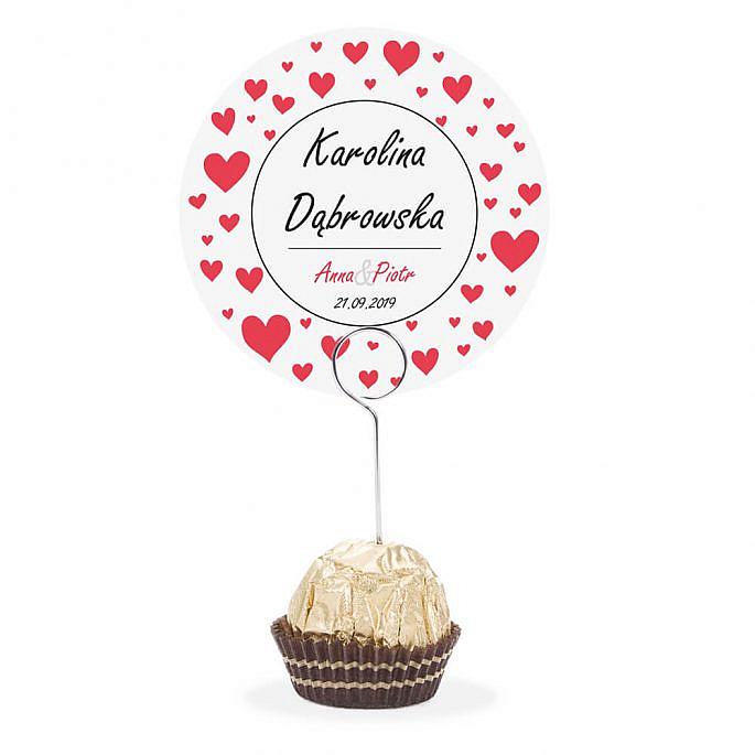 Winietka weselna na stół metalowa szpilka podziękowanie serca love