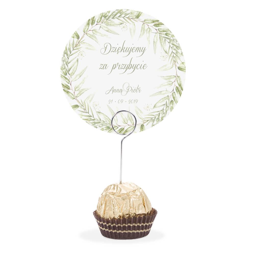 Winietka weselna na stół metalowa szpilka podziękowanie greenery