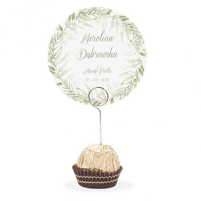 Winietka weselna na stół metalowa szpilka podziękowanie zielony motyw kwiatowy