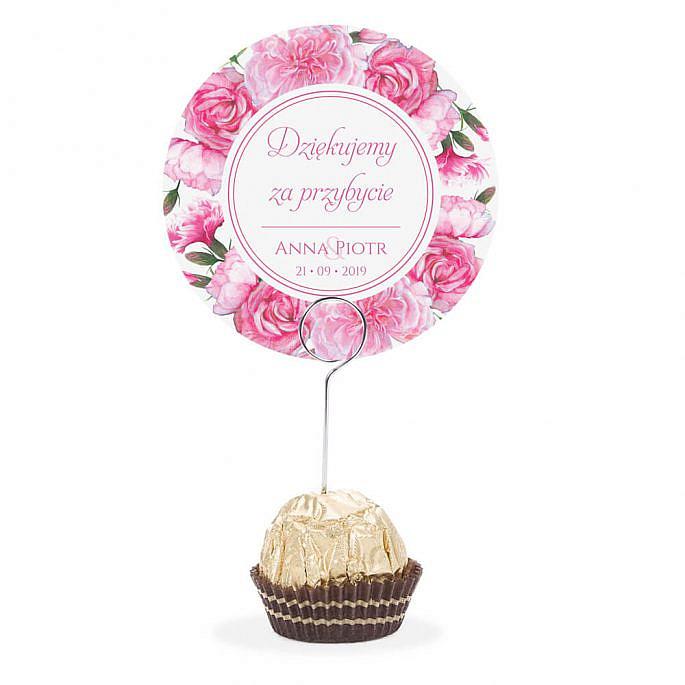 Winietka weselna na stół metalowa szpilka podziękowanie różowe goździki