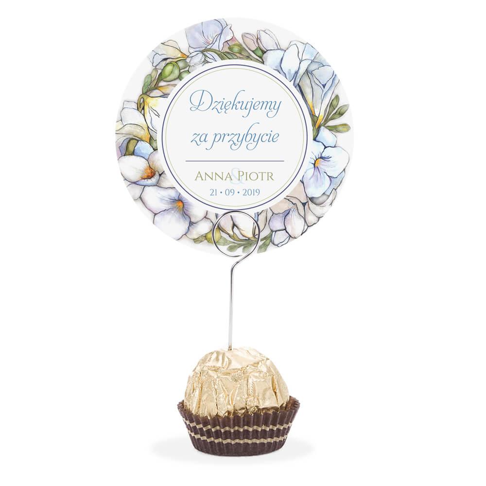 Winietka weselna na stół metalowa szpilka podziękowanie białe frezje