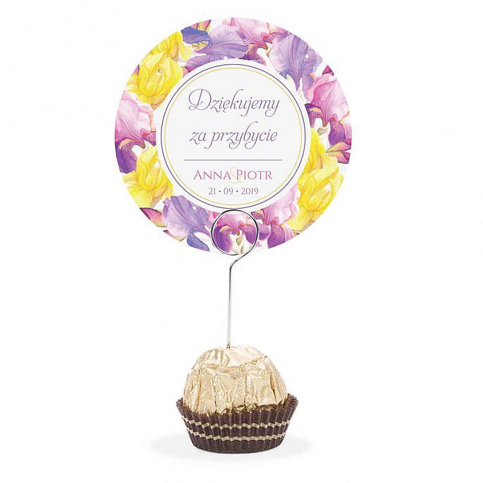 Winietka weselna na stół metalowa szpilka podziękowanie irysy kolorowe