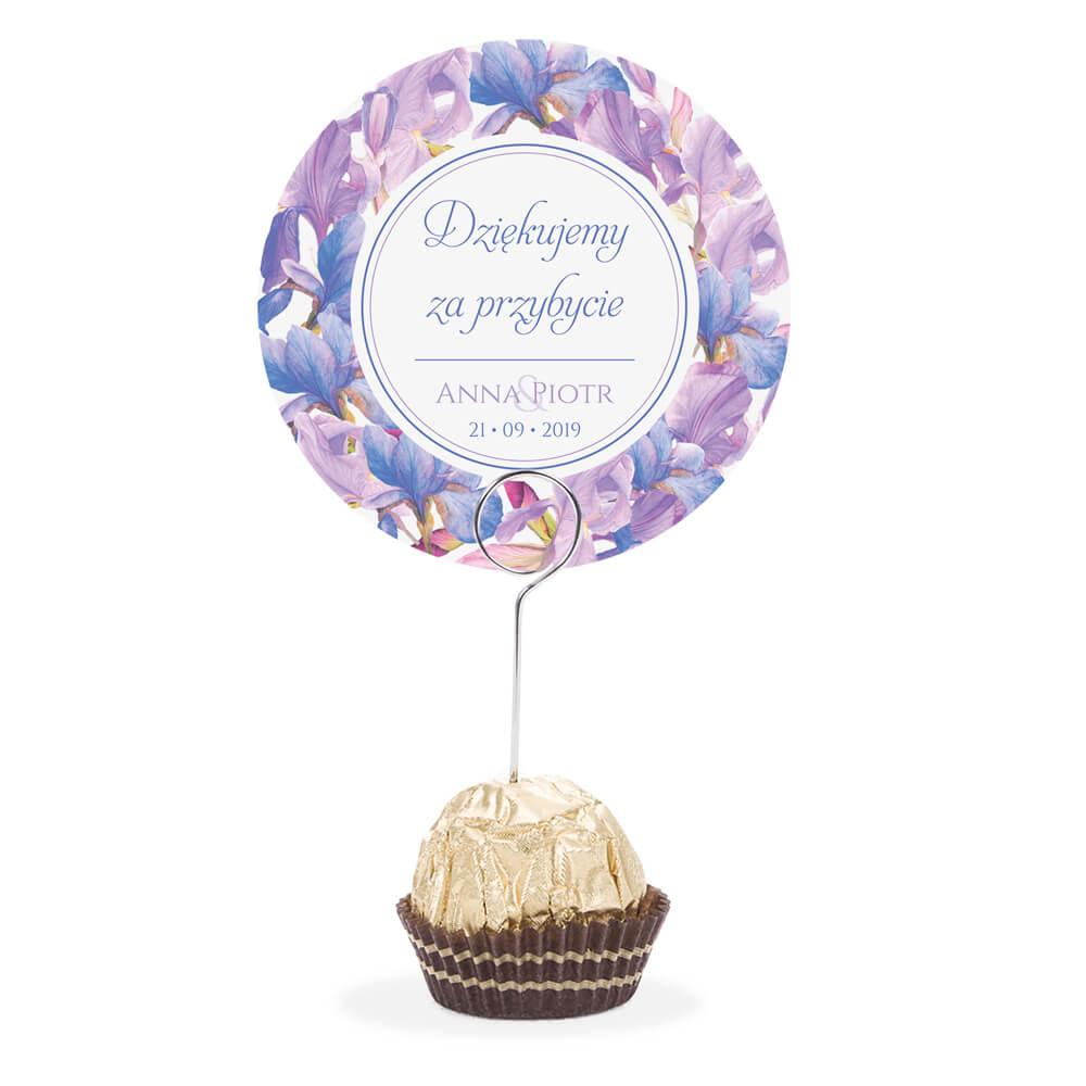 Winietka weselna na stół metalowa szpilka podziękowanie fioletowe irysy