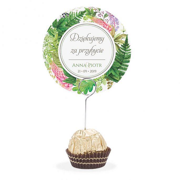 Winietka weselna na stół metalowa szpilka podziękowanie łubin paproć