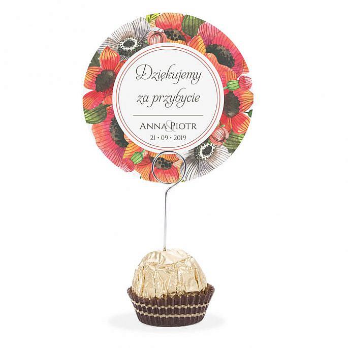 Winietka weselna na stół metalowa szpilka podziękowanie maki