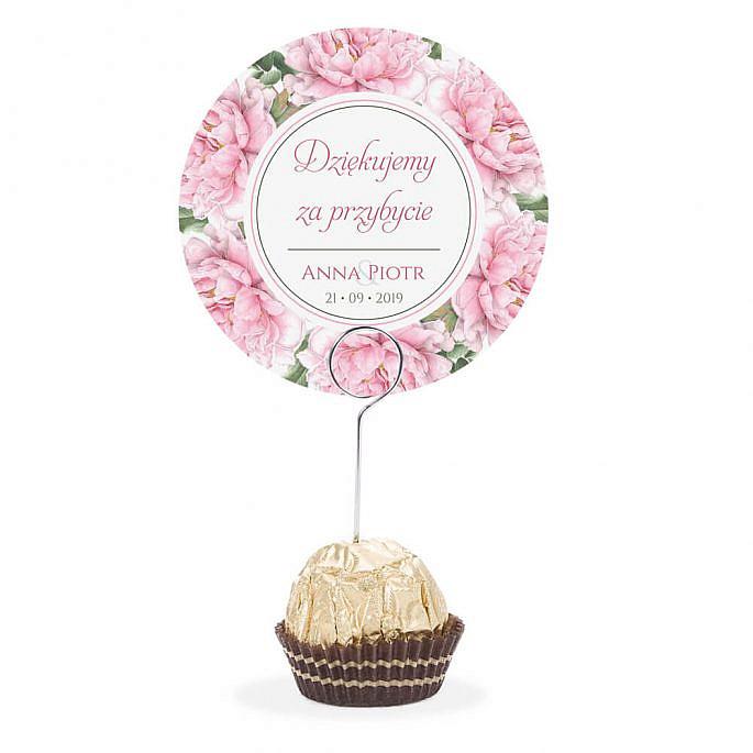 Winietka weselna na stół metalowa szpilka podziękowanie kwiat piwonii różowy