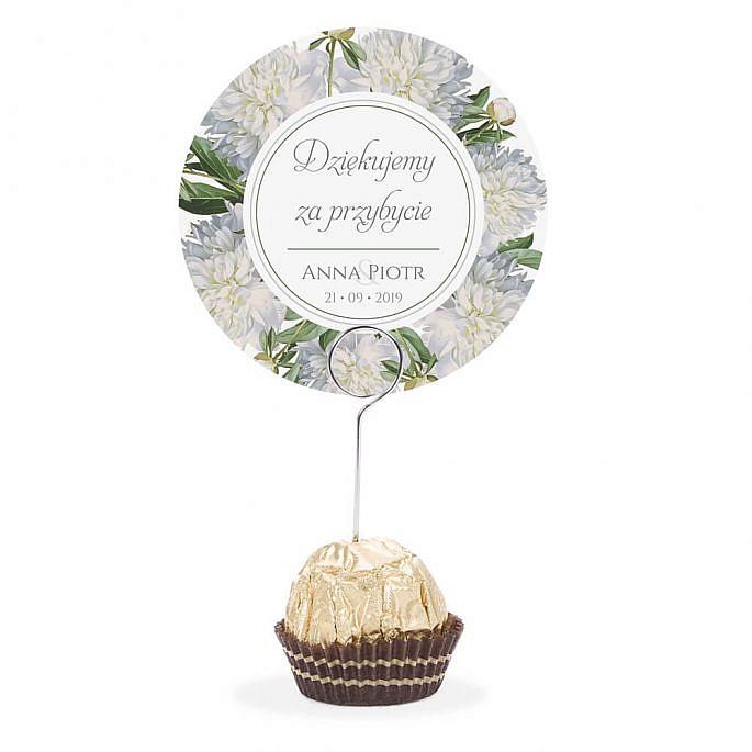 Winietka weselna na stół metalowa szpilka podziękowanie kwiat piwonii biały