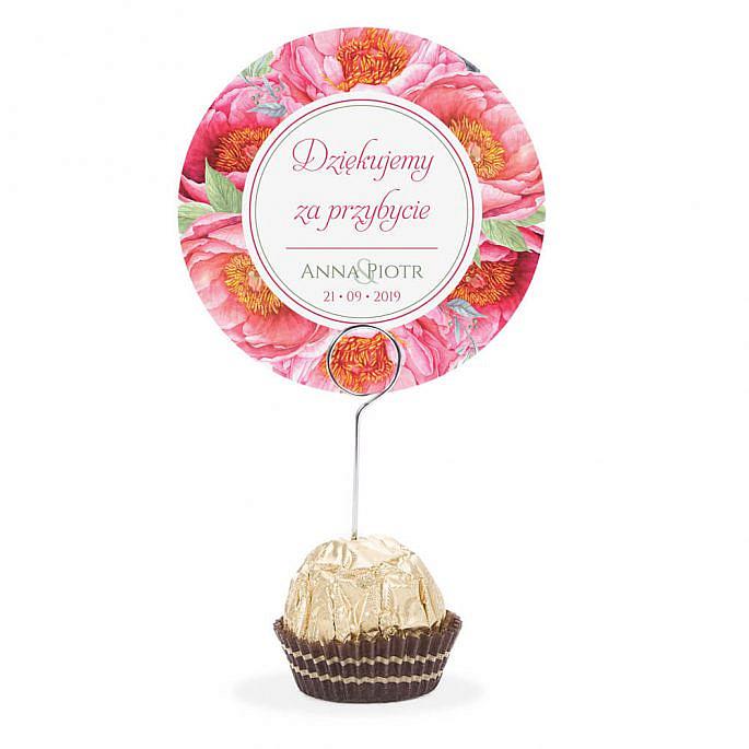 Winietka weselna na stół metalowa szpilka podziękowanie kwiat piwonii