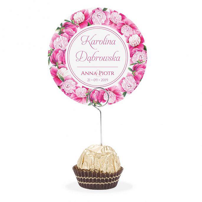Winietka weselna na stół metalowa szpilka podziękowanie piwonie różowe