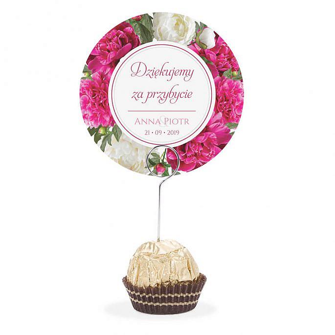 Winietka weselna na stół metalowa szpilka podziękowanie biało różowe piwonie