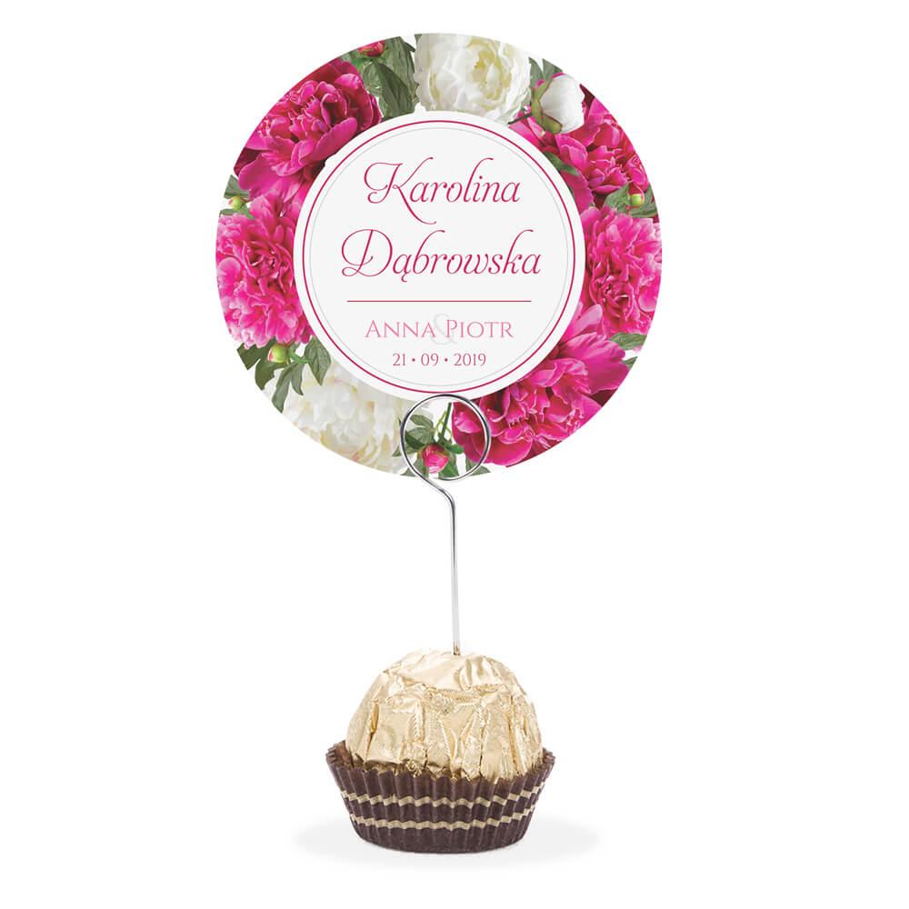 Winietka weselna na stół metalowa szpilka podziękowanie różowy kwiat piwonii