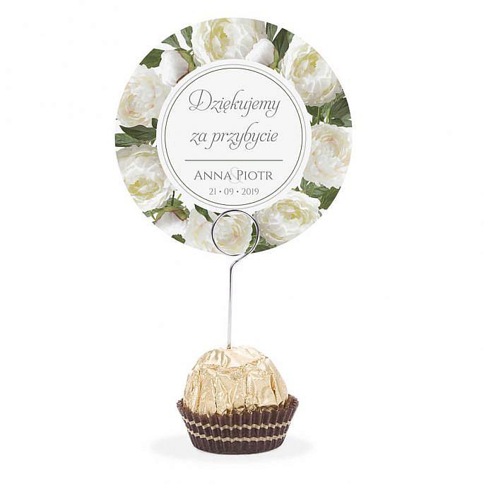 Winietka weselna na stół metalowa szpilka podziękowanie biała piwonia