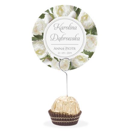 Winietka weselna na stół metalowa szpilka podziękowanie białe piwonie