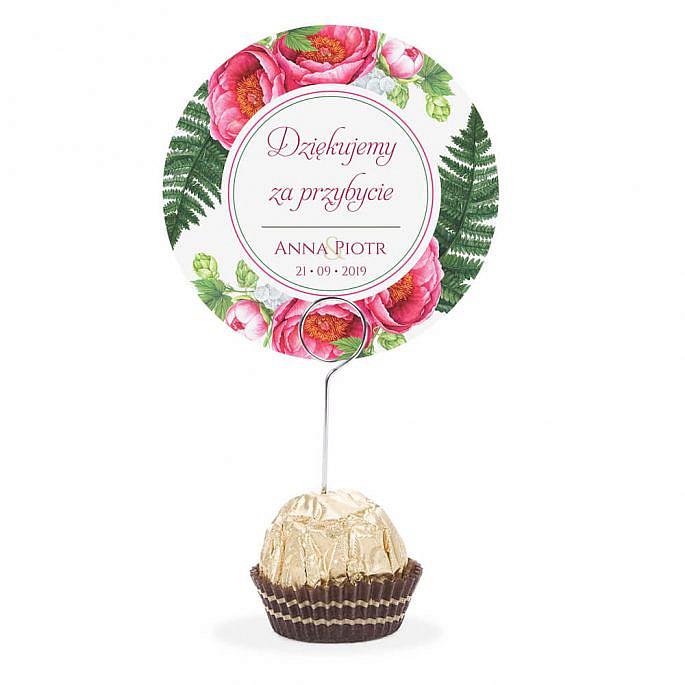 Winietka weselna na stół metalowa szpilka podziękowanie piwonia liście