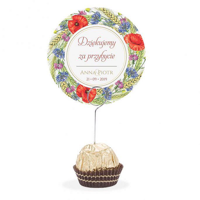Winietka weselna na stół metalowa szpilka podziękowanie kwiaty polne kolorowe