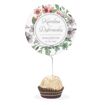 Winietka weselna na stół metalowa szpilka podziękowanie kwiaty retro