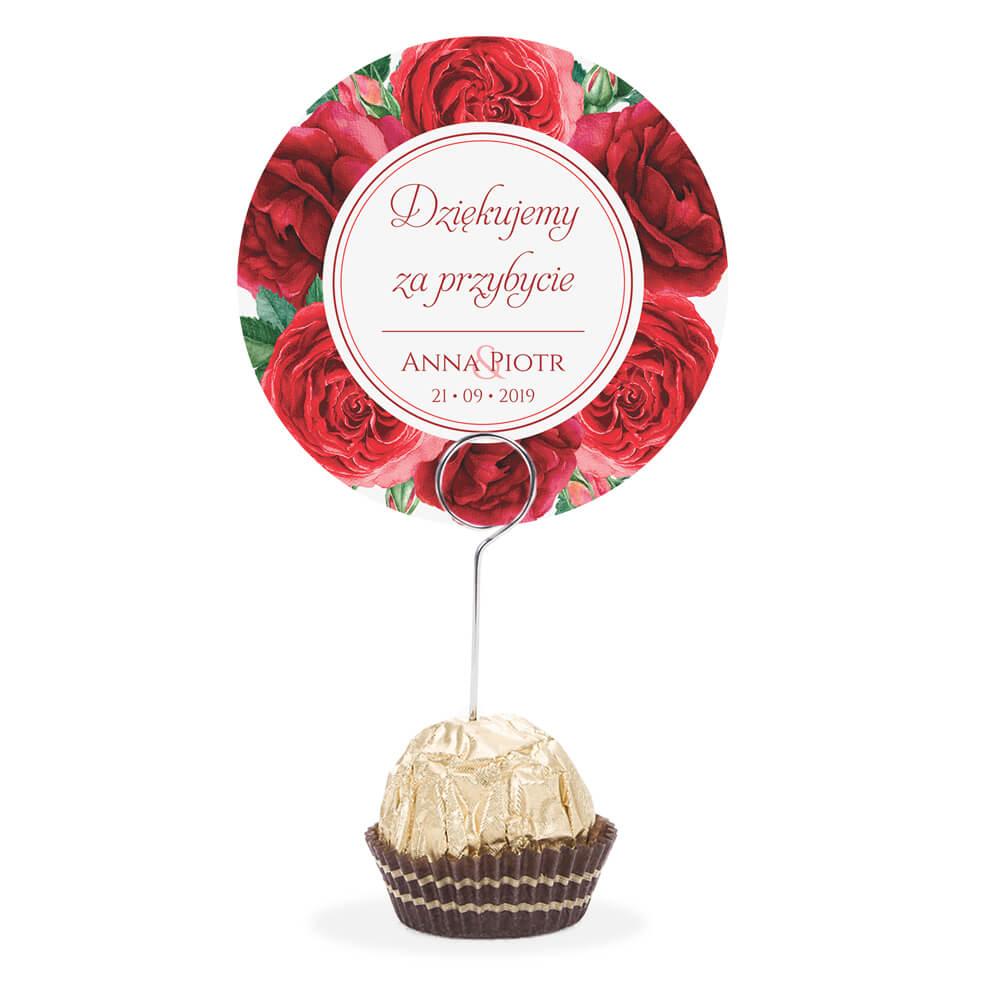 Winietka weselna na stół metalowa szpilka podziękowanie czerwone róże