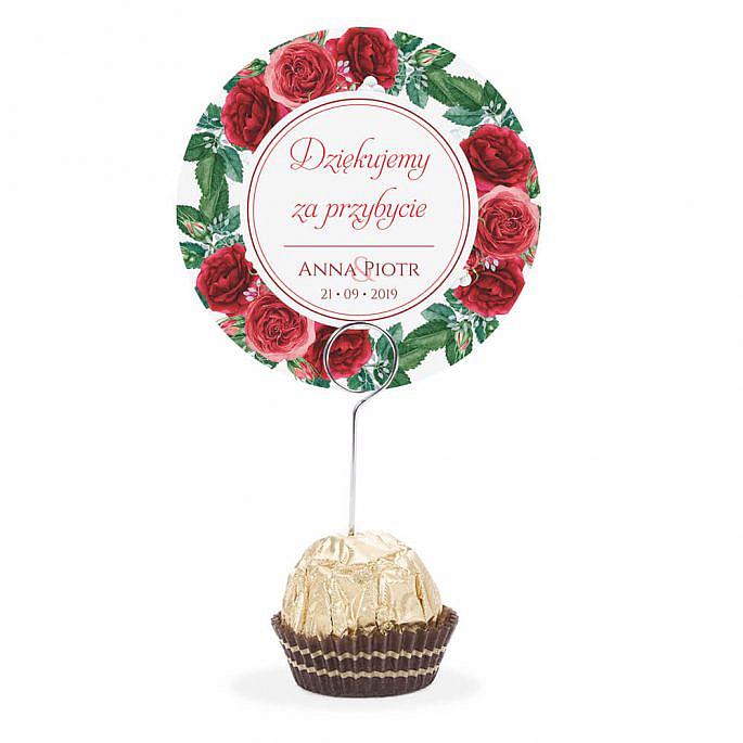 Winietka weselna na stół metalowa szpilka podziękowanie róże liście