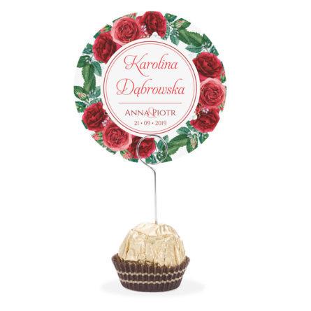 Winietka weselna na stół metalowa szpilka podziękowanie róże