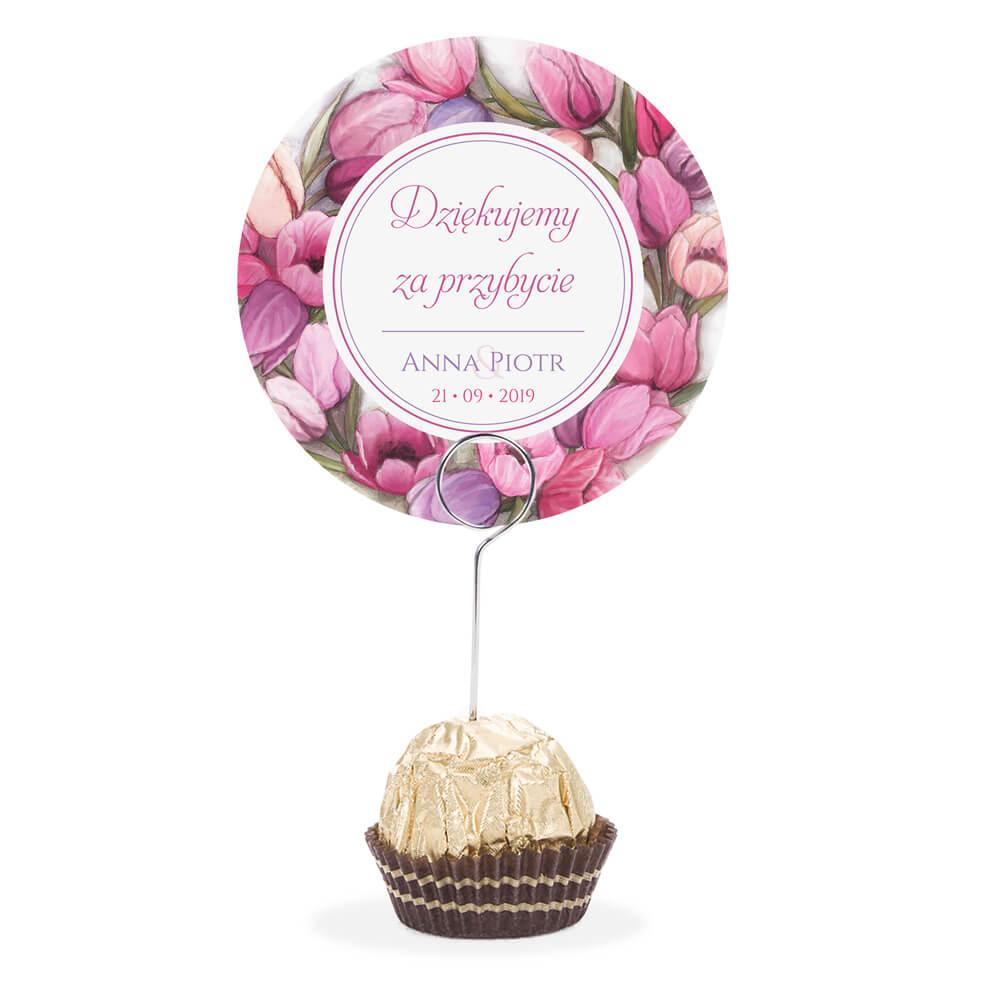 Winietka weselna na stół metalowa szpilka podziękowanie kolorowe tulipany