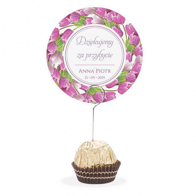 Winietka weselna na stół metalowa szpilka podziękowanie różowe tulipany