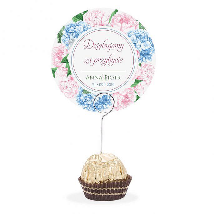 Winietka weselna na stół metalowa szpilka podziękowanie piwonia hortensja