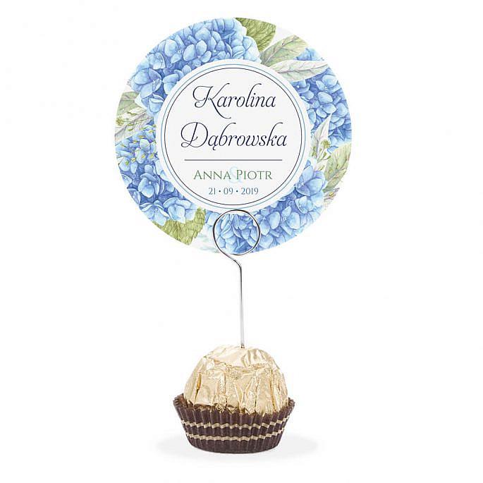 Winietka weselna na stół metalowa szpilka podziękowanie niebieska hortensja