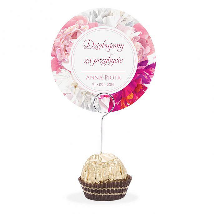 Winietka weselna na stół metalowa szpilka podziękowanie piwonia różowa