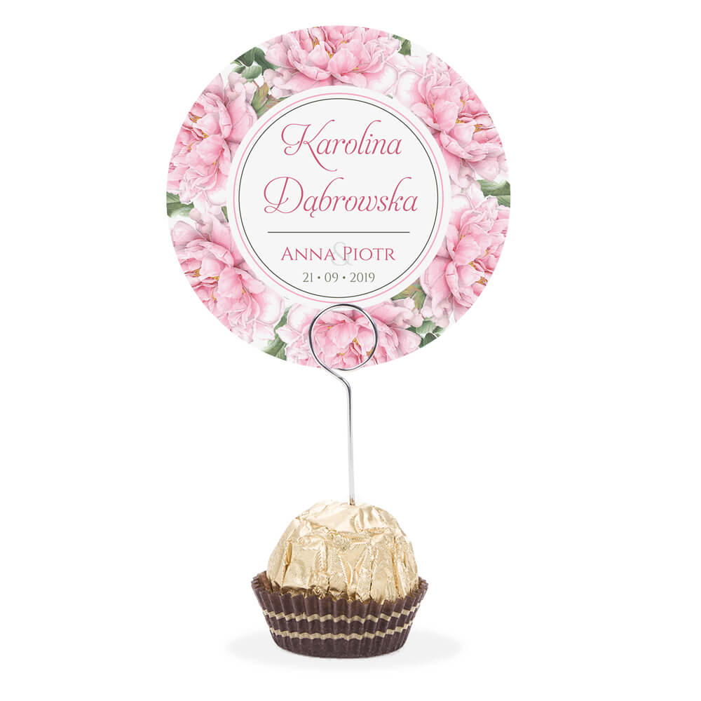 Winietka weselna na stół metalowa szpilka podziękowanie różowe piwonie
