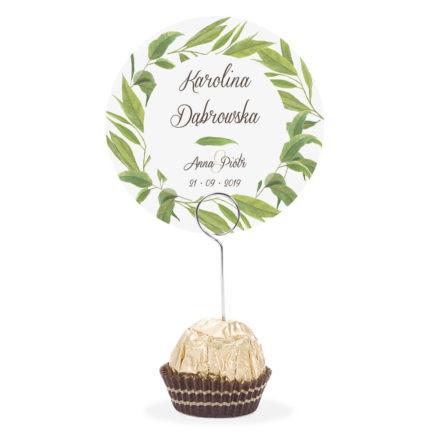 Winietka weselna na stół metalowa szpilka podziękowanie liście eukaliptusa