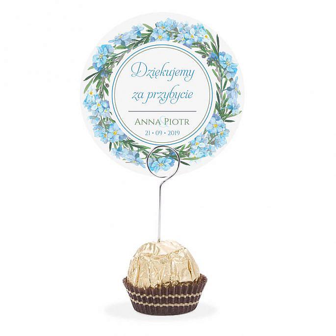 Winietka weselna na stół metalowa szpilka podziękowanie niezapominajki
