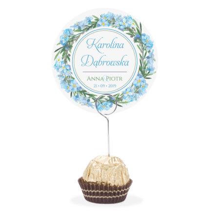 Winietka weselna na stół metalowa szpilka podziękowanie niebieskie niezapominajki